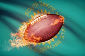 picture of south american flag  - American football ball with flag on backround series  - JPG