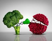 image of immune  - Health food and Cancer fighting foods nutrition concept with a green boxing glove emerging out of an open broccoli vegetable as a health care metaphor for a healthy lifestyle diet rich in natural fruit and vegetables to attack tumors and fight illness - JPG