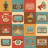 pic of microphone  - Vintage retro media gadgets icons set of radio microphone camera isolated vector illustration - JPG
