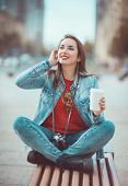 Hipster Girl Drinking Coffee