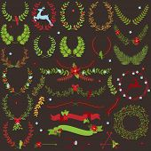 Vector Collection of Christmas Holiday Themed Laurels and Wreaths
