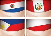 Flags illustration, Paraguay, Peru, Philippines, Poland