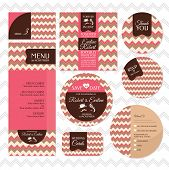 Set Of Retro Wedding Cards