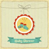 Retro Baby Shower Card With Little Socks