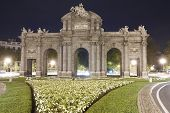 Madrid By Night. Puerta De Alcala. Spain