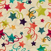 Seamless pattern with stars and serpentine on crumpled paper.