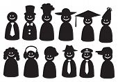 Smiley Vector Icons In Different Headwear