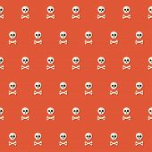 foto of skull cross bones  - Illustration of Seamless Halloween Skull Pattern with Bones over red - JPG