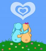 Rabbits lovers under heart
