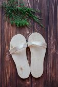 Hand-made wooden slippers for sauna, Russian baths