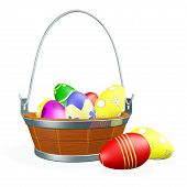 Painted Easter Eggs In Wooden Basket