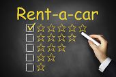 Hand Drawing Rent A Car Golden Rating Stars On Chalkboard