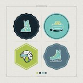 foto of ski boots  - 4 icons (objects) to show different kind of winter sports. Pictured here left to right top to bottom - 