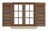 Wooden Window On White