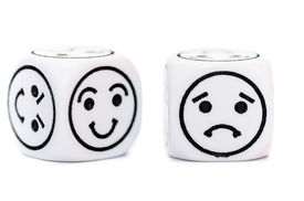 stock photo of emoticon  - emoticon dice with happy and sad expression sketch isolated on white background - JPG