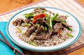 picture of stir fry  - orange and ginger beef stir fry over brown rice - JPG