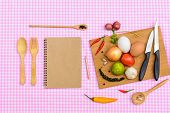 Food Ingredient With Wooden Cutting Board On Tablecloth