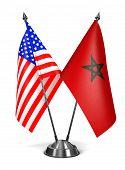 USA and Morocco - Miniature Flags.