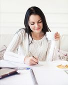 Student Teen Girl Studying At Home