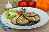 picture of aubergines  - Grilled aubergine with salad leaves and dill - JPG