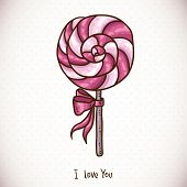 Greeting Card with candy lollipop