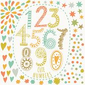 Whimsical hand drawn numbers, from one to zero. Hand-drawn numbers. Vector sketch illustration isola
