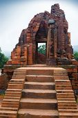 stock photo of champa  - MySon temple red bricks in cloudy weather Vietnam - JPG