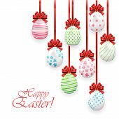Easter Eggs With Red Bow