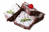 Chocolate Cake Brownie Isolated On White Background