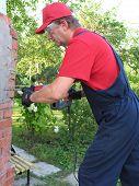 Working Male Jackhammer Destroy The Old Foundation