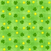 Saint patricks day shamrock and gold coins seamless background. Eps10 vector illustration