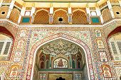 JAIPUR, INDIA - MARCH 08: Interior mughal architectural details of Amber Fort, March 08, 2012,