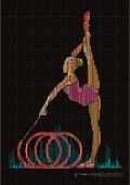 Woman gymnast. Vector artwork in the style of digital equalizer