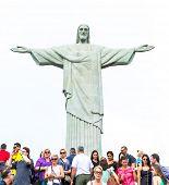 RIO DE JANEIRO, BRAZIL - CIRCA NOV 2014: Tourists on the Corcovado Hill visiting the Christ Redeemer in Rio de Janeiro, Brazil.