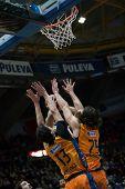 VALENCIA, SPAIN - FEBRUARY 11: Various players during Eurocup match between Valencia Basket Club and Lokomotiv Kuban Krasnodar at Fonteta Stadium on February 11, 2014 in Valencia, Spain