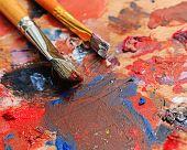 stock photo of bristle brush  - Brush and oil paint artist shot closeup - JPG