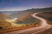 picture of long winding road  - Winding mountain road in Turkey towards Istambul - JPG