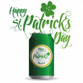 an isolated green can with beer and text for patrick's day