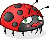 image of blush  - A cute little ladybug cartoon character wearing lipstick - JPG