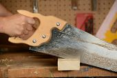 Man cutting wood in shop with hand saw