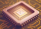 stock photo of microchips  - Microchip on board. Depth of field in the core.