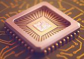 stock photo of microchips  - Microchip on board. Depth of field in the core. ** Note: Shallow depth of field - JPG