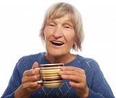 pic of old lady  - Happy old lady with coffee - JPG