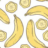 Banana Seamless Pattern In Vector