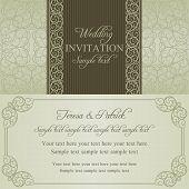 Baroque wedding invitation, dull gold