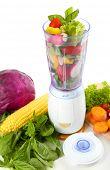 stock photo of blender  - Blender with fresh vegetables isolated on white - JPG