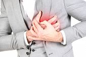 Man having chest pain - heart attack close up
