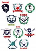 stock photo of ball cap  - Baseball club and game emblems and labels with bats - JPG