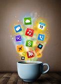 Coffee mug with colorful media icons, close up
