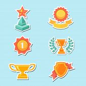 Trophy and awards icons set. Vector